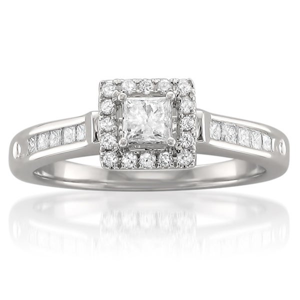 Montebello 14k White Gold 1/2ct TDW Princess-cut Diamond Halo Engagement Ring (H-I, I1-I2)