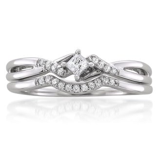 10k White Gold 1/5ct TDW Princess-cut Diamond Bridal Ring Set (G-H, I1)