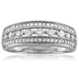 14k White Gold 1/2ct TDW Three Row Diamond Band (H-I, I1-I2)