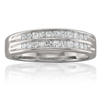 14k White Gold 1/2ct TDW Double Row Diamond Anniversary Band (G-H, I1-I2)