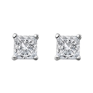 10k White Gold 1/3ct TDW Princess-cut Diamond Stud Earrings (H-I, I1-I2)