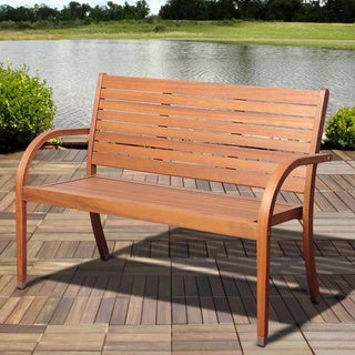 Riviera Brown Eucalyptus Outdoor Bench
