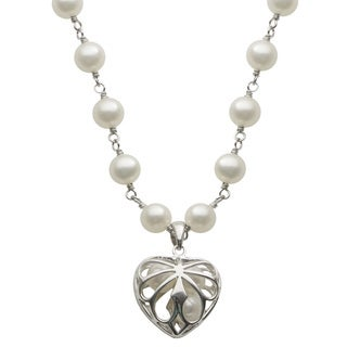 Pearls For You Sterling Silver White Freshwater Pearl Heart Cage Pendant Necklace (5-5.5 mm)