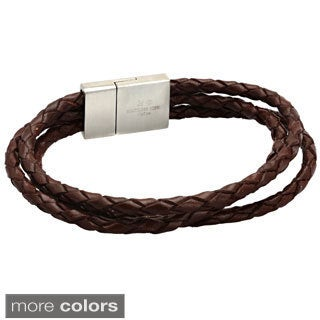 Stainless Steel Woven Black or Brown Leather Bracelet