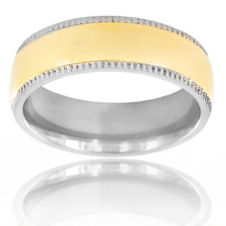 Titanium Two-tone Goldtone Center Miligrain Edge Ring