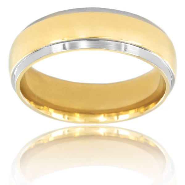 Titanium Smooth Goldtone Center Band Ring