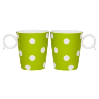 Red Vanilla 'Freshness Dots' 12-ounce Green Mug (Set of 2)