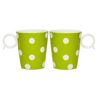 Red Vanilla Freshness Mix & Match Dots 12-ounce Green Mug (Set of 2)