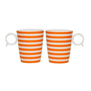 Red Vanilla 'Freshness Lines' 12-ounce Orange Mug (Set of 2)