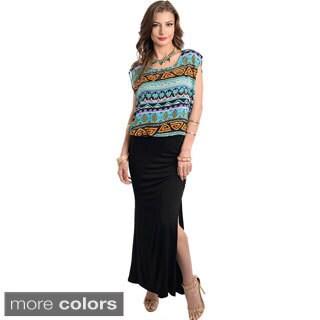 Stanzino Women's Two-tone Maxi Dress with Side Slit