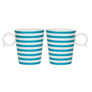 Red Vanilla 'Freshness Lines' 12-ounce Turquoise Mug (Set of 2)