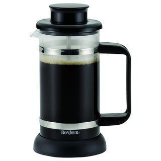 BonJour Coffee and Tea 3-cup Black Riviera French Press with Coaster and Scoop