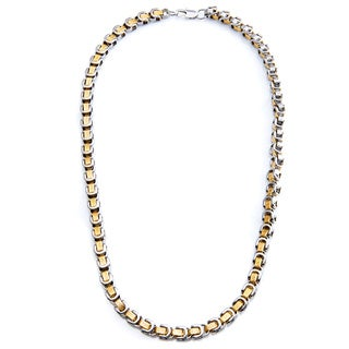Two-tone Stainless Steel Men's Byzantine Box Maze Chain Link Necklace