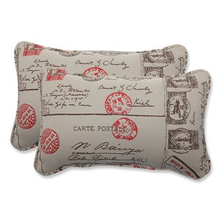 Pillow Perfect Rectangular Throw Pillow with Bella-Dura Carte Postale Fabric (Set of 2)