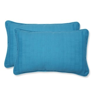 Pillow Perfect Outdoor Veranda Turquoise Rectangular Throw Pillow (Set of 2)