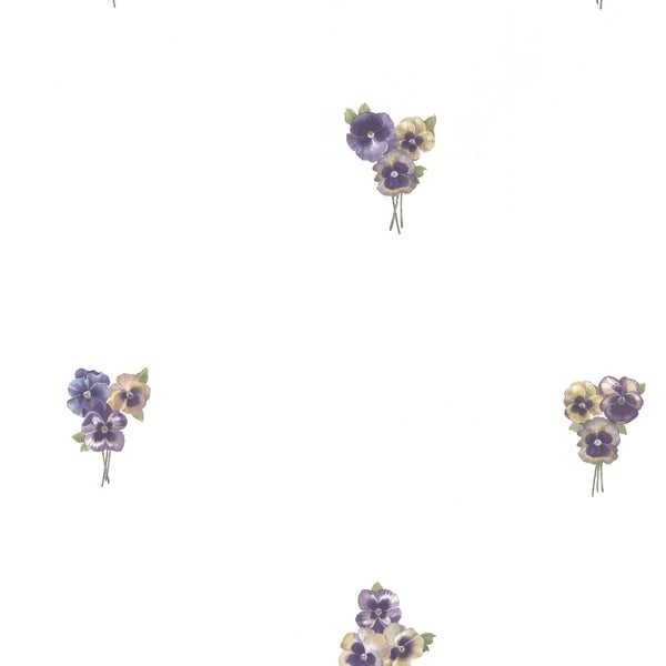 Magnolia White Lilac Toss Wallpaper