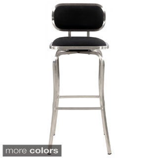 Somette Modern Stainless Steel Swivel Bar Stool