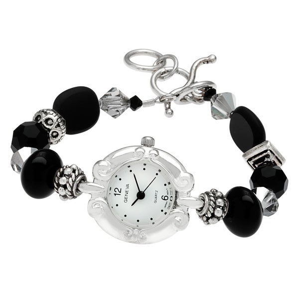 Geneva Women's 'Time after Time' Bracelet Gemstone Watch