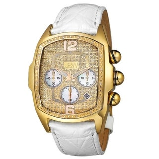 "JBW Men's ""Caesar"" Goldplated Stainless Steel Leather Diamond Chronograph Watch"