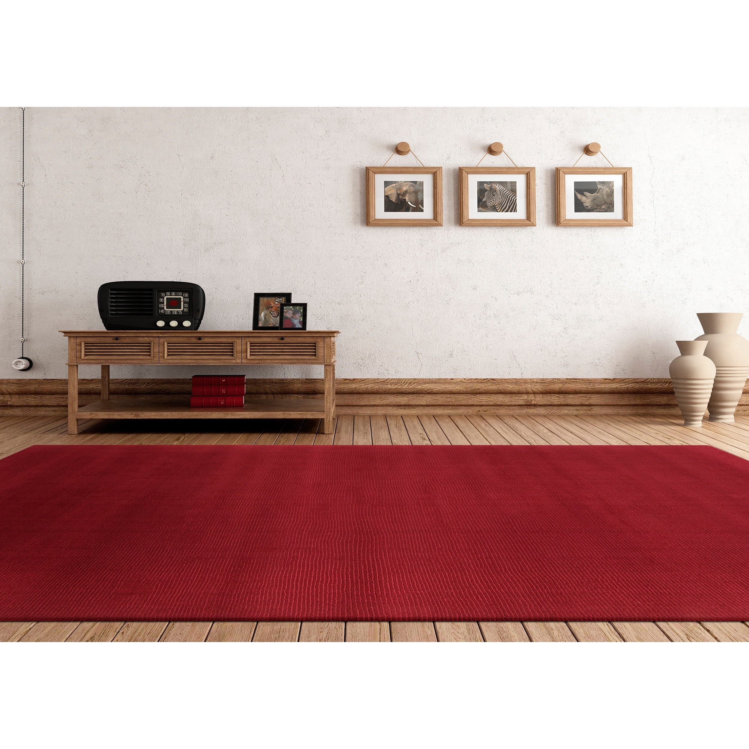 Overstock.com Hand-loomed Dalton Casual Solid Wool Area Rug (6' x 9')