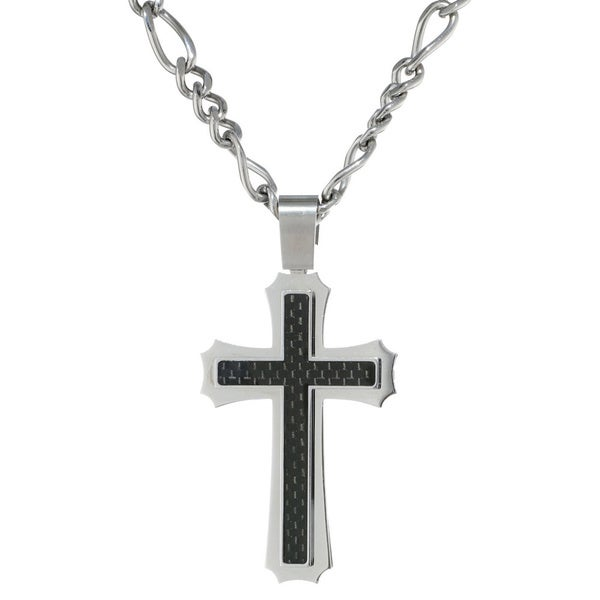 Stainless Steel Extra Large Carbon Fiber Cross Pendant Necklace