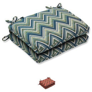 Pillow Perfect Squared Corners Seat Cushion with Sunbrella Chevron Fabric (Set of 2)