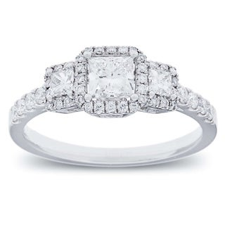 14k White Gold 1ct TDW Diamond Halo Engagement Ring (G-H, SI2-I1)