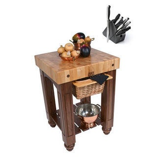 John Boos CU-GB25-WB Walnut 25x24 Work Table and Henckels 13 Piece Knife Block Set