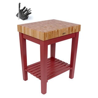 John Boos CU-CB3024-BN Maple Kitchen Prep Table (30x24) with Henckels 13 Piece Knife Block Set