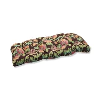Pillow Perfect Wicker Loveseat Cushion with Sunbrella Vagabond Paradise Fabric