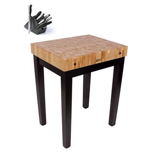 John Boos CU-CB3024-BK Black Maple Kitchen Prep 30x24 inch Table with Henckels 13 Piece Knife Block Set