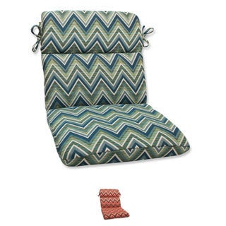 Pillow Perfect Rounded Corners Chair Cushion with Sunbrella Chevron Fabric