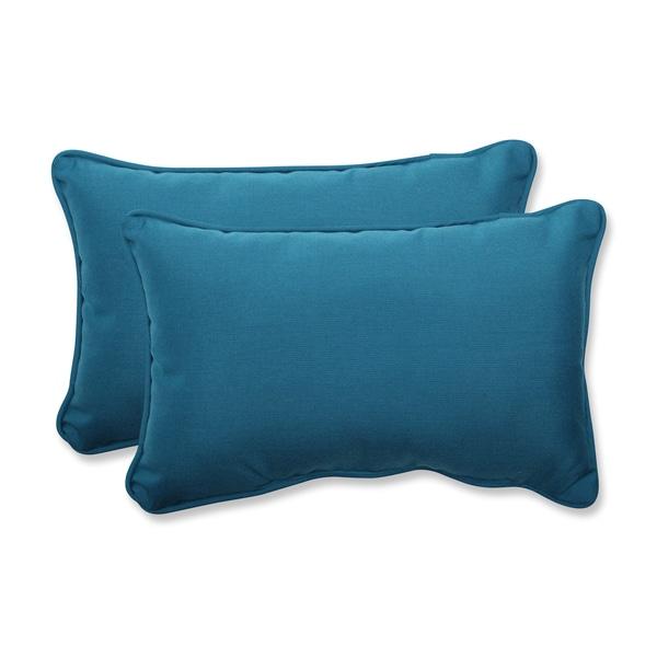 Pillow Perfect Rectangular Throw Pillow with Sunbrella Spectrum Peacock Fabric (Set of 2)