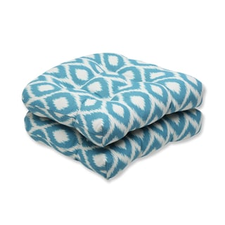 Pillow Perfect Wicker Seat Cushion with Bella-Dura Shivali Turquoise/Cream Fabric (Set of 2)