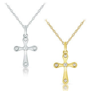 10k White or Yellow Gold Diamond Accent Cross Pendant