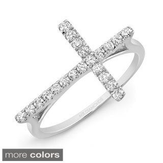 14k Gold 1/6ct TDW Diamond Sideways Cross Ring (H, I1-I2)