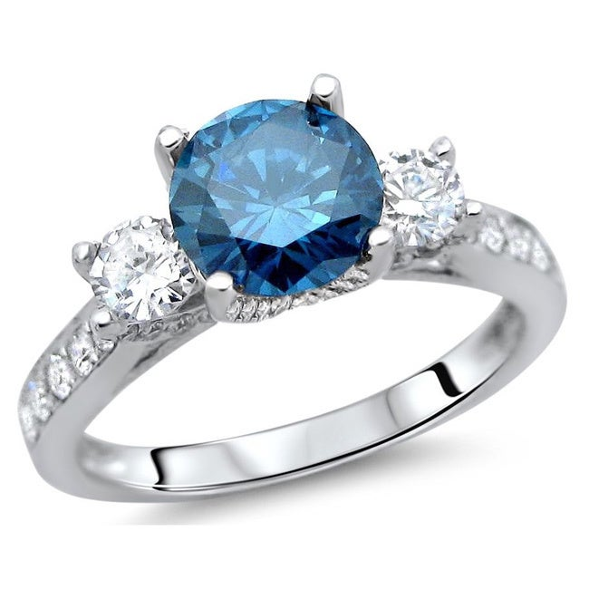Overstock.com 18k White Gold 1 5/8ct Blue and White Diamond Engagement Ring (G-H, SI1-SI2)