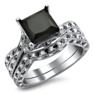 14k White Gold 3 2/5ct Black Princess Cut Alternating Diamond Bridal Ring Set