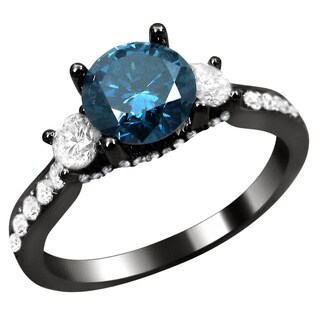 Noori 18k Black Gold 1 5/8ct Blue and White Round Diamond Ring (G-H, SI1-SI2)