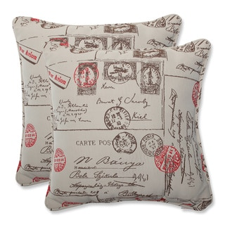 Pillow Perfect 18.5-inch Throw Pillow with Bella-Dura Carte Postale Fabric (Set of 2)