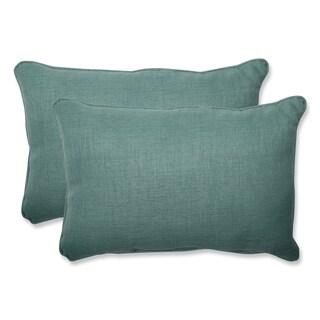 Pillow Perfect Outdoor Green Over-sized Rectangular Throw Pillow (Set of 2)