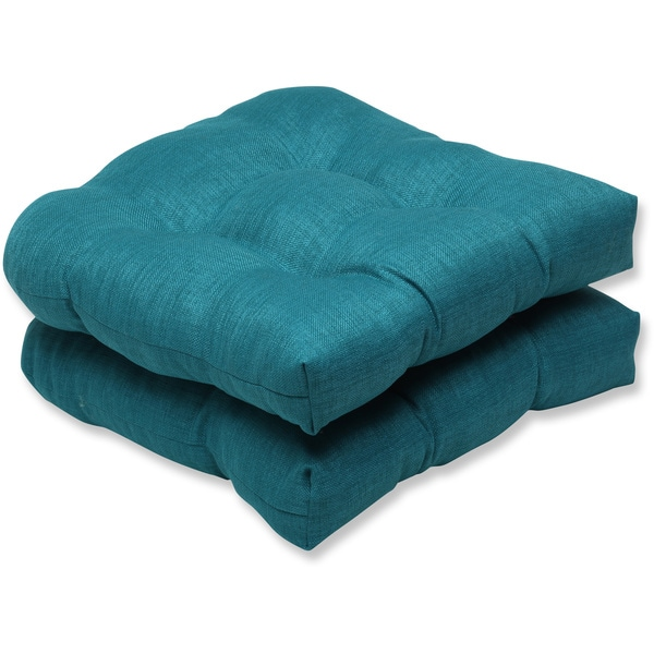 Pillow Perfect Outdoor Teal Wicker Seat Cushion Set of 2
