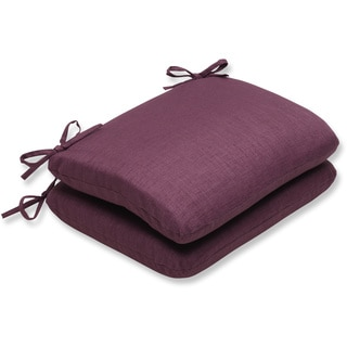 Pillow Perfect Outdoor Purple Rounded Corners Seat Cushion (Set of 2)