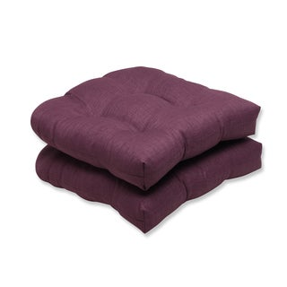 Pillow Perfect Outdoor Purple Wicker Seat Cushion (Set of 2)