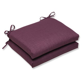Pillow Perfect Outdoor Purple Squared Corners Seat Cushion (Set of 2)