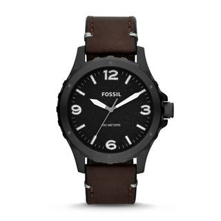 Fossil Men's 'Nate' Brown Leather Chronograph Watch