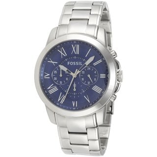 Fossil Men's 'Grant' Blue Dial Stainless Steel Watch