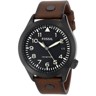 Fossil Men's AM4538 'Aeroflight' Brown Leather Analog Watch