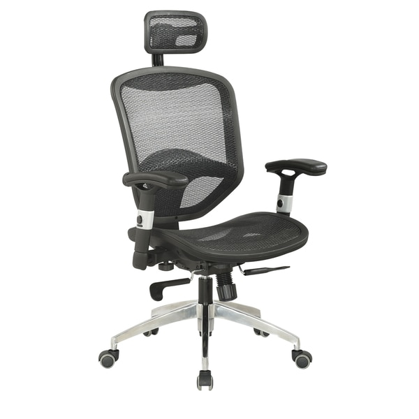 Somette Black Mesh Adjustable Pneumatic Gas Lift Office Chair