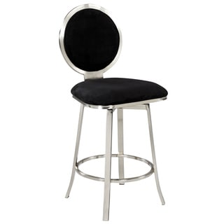 Black Upholstered Round Back Memory Swivel Counter Stool